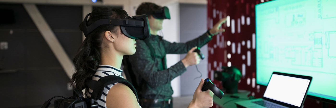 Man and woman using virtual reality